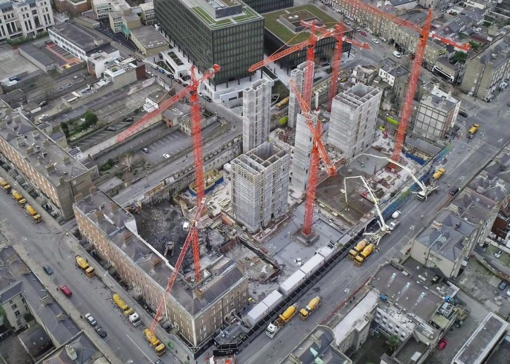An Arial view of the ESB Project Fitzwilliam site, with a current count of 6 cranes.