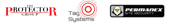 This image shows the logos of The Protector group, Tag systems and Permanex site security.