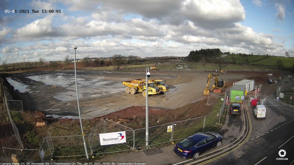 camera view of IONOS Worcester construction site