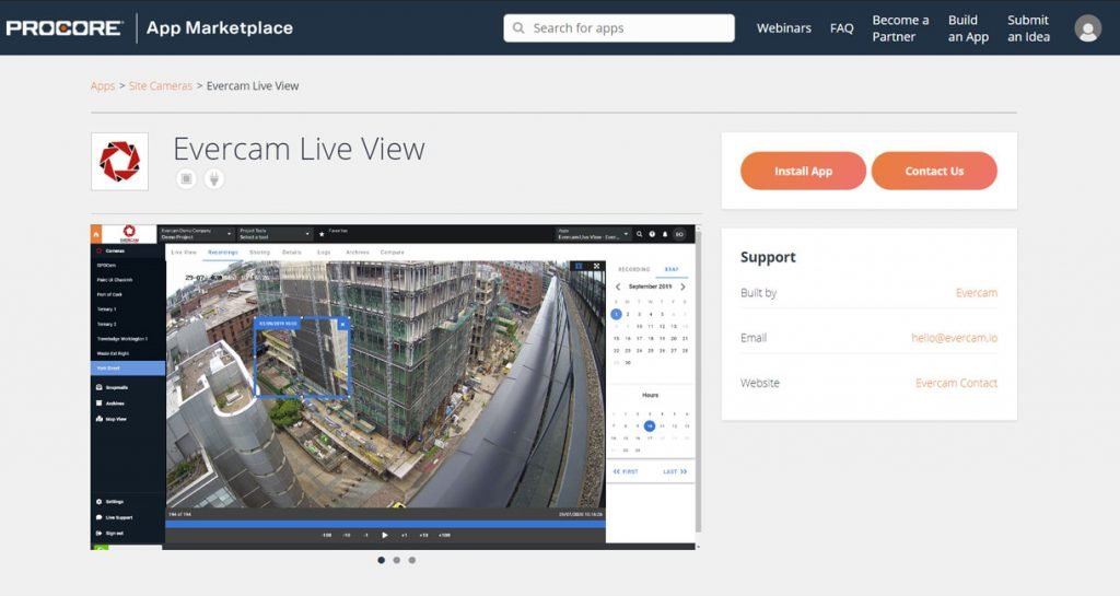 This image shows the Evercam construction cameras dashboard in Procore.