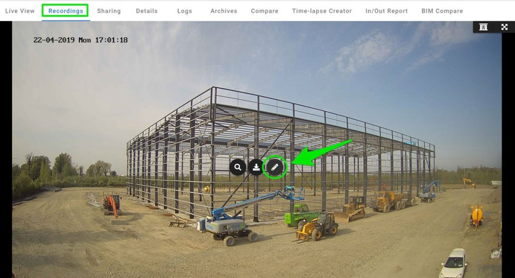 Edit tool snapshot from Evercam Dashboard